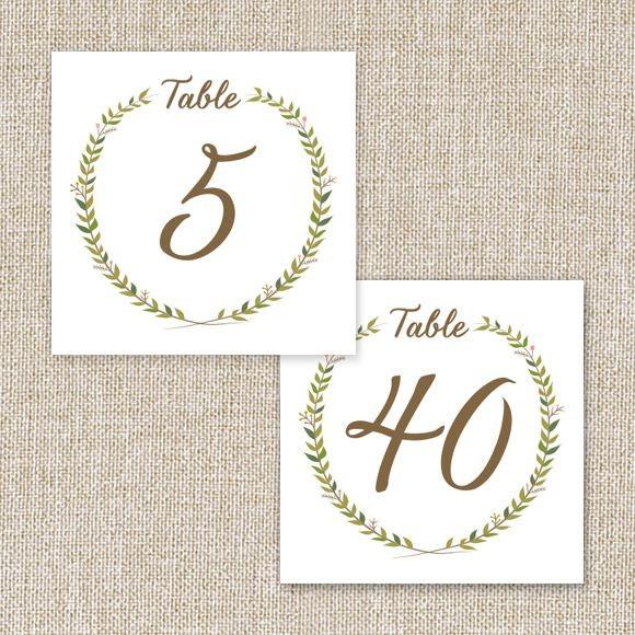 Rustic Wreath Table Numbers