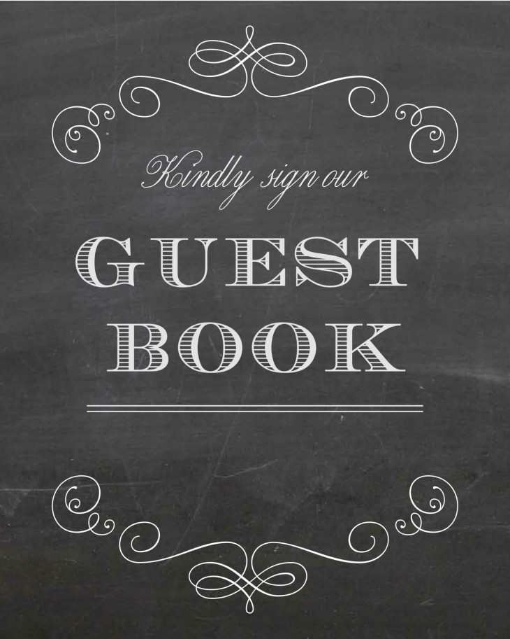 Fancy Chalkboard Guest Book Sign Printable