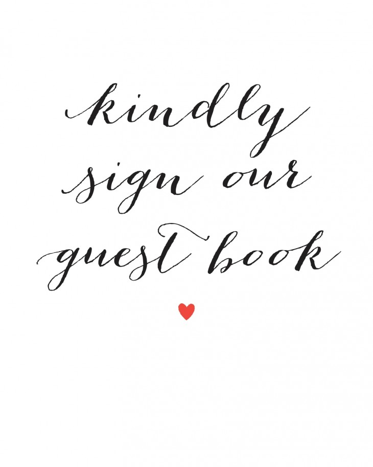 Script Heart Guest Book Sign Printables By Basic Invite