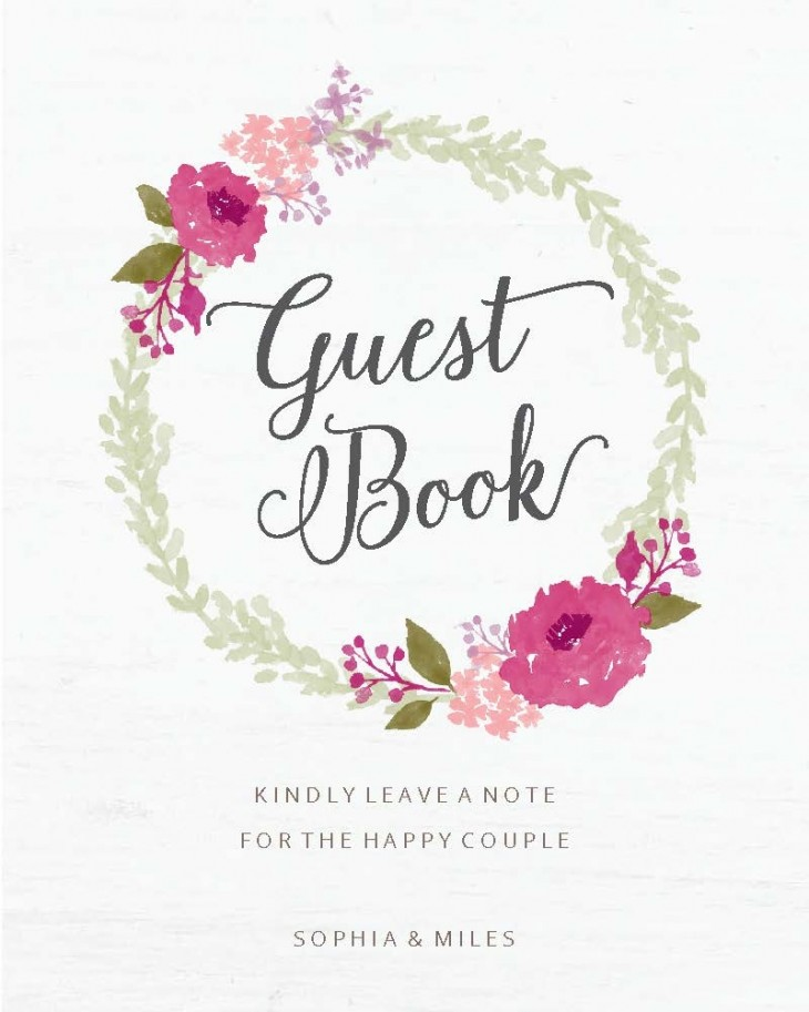 Watercolor Wreath Guest Book Sign Printable