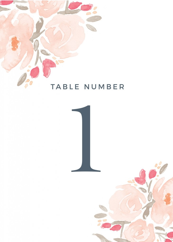 Watercolor Bouquet Table Numbers Printable