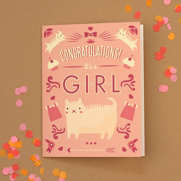 graphic relating to Printable Baby Cards known as Cat Congratulations Kid Card Printable by means of Easy Invite