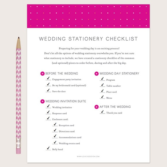 image relating to Bridal Shower Checklist Printable called Wedding ceremony Stationery Listing Printable through Easy Invite