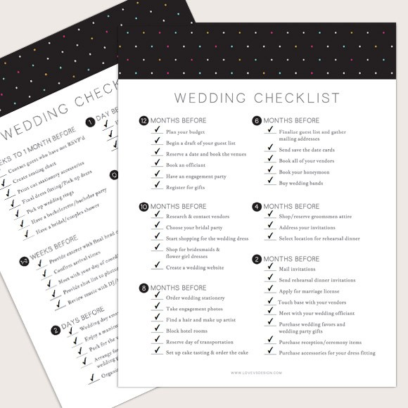 image relating to Printable Wedding Planning identified as Marriage ceremony Listing Printable through Easy Invite