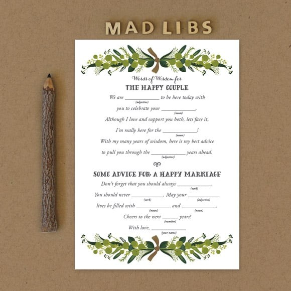 Wedding Vow Mad Libs Printable: Romantic Wreath Mad Libs By Basic Invite