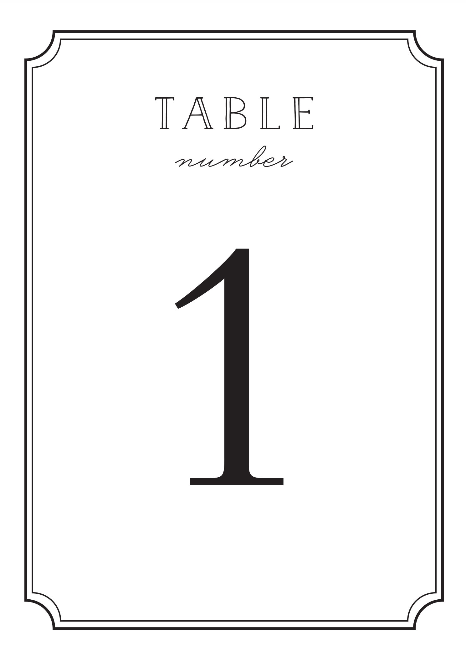 image relating to Number 2 Printable identified as Style Body Desk Quantity Printables by way of Simple Invite