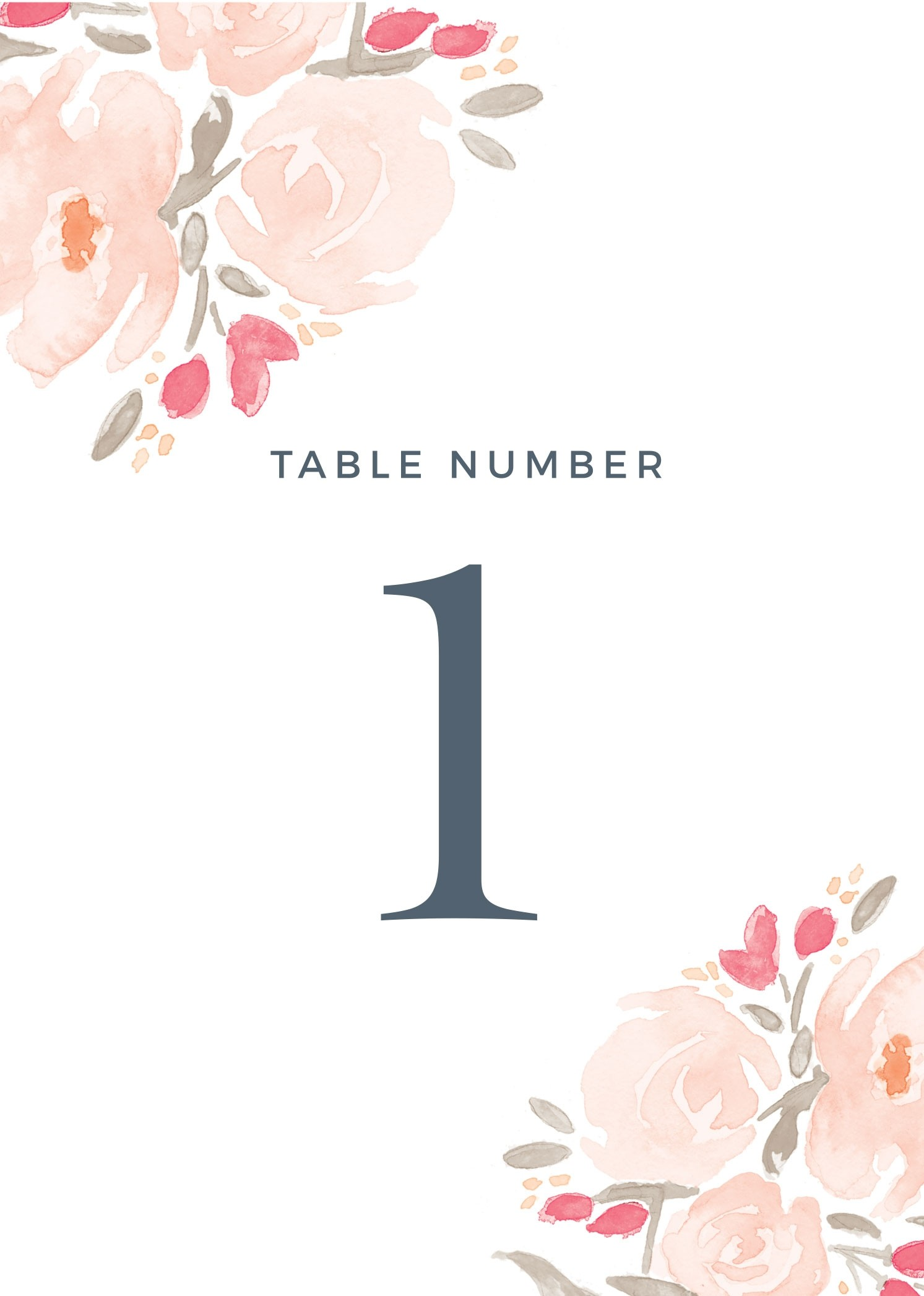 photograph about Free Printable Table Number identify Watercolor Bouquet Desk Quantity Printables via Straightforward Invite