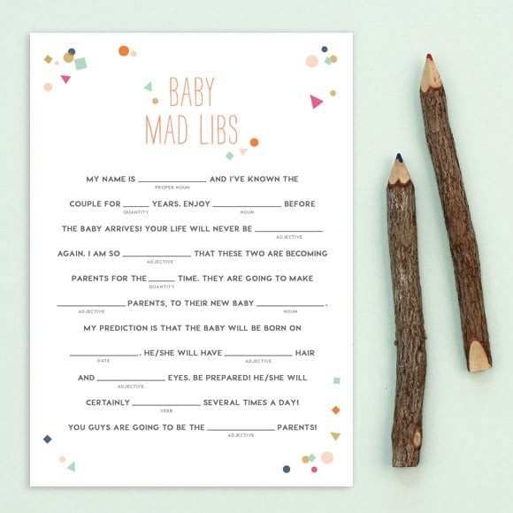 photo relating to Baby Shower Mad Libs Printable titled Printable Crazy Libs For Child Showers as a result of Very simple Invite