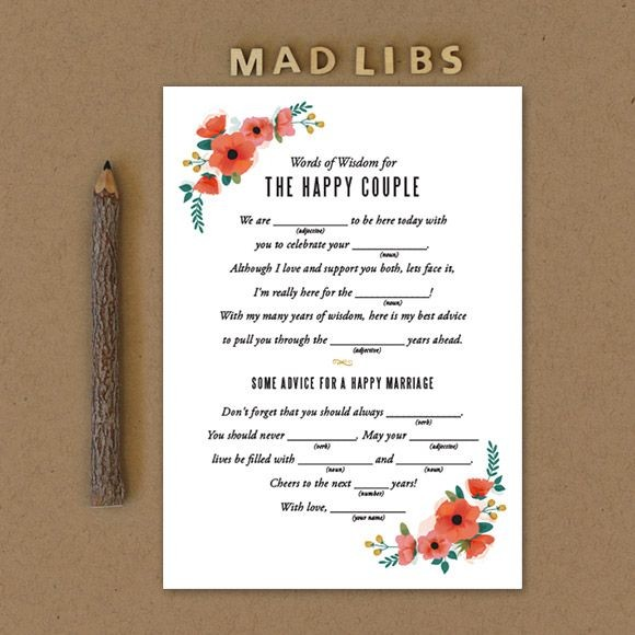 watercolor floral mad libs printable