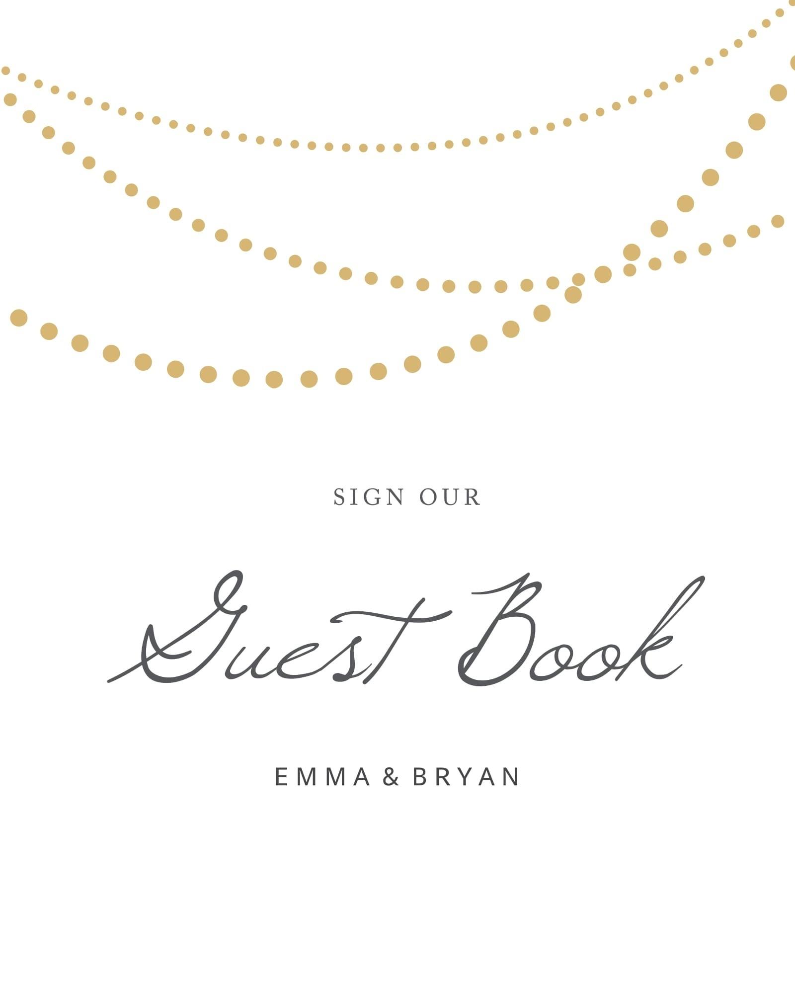 String Lights Guest Book Sign Printable