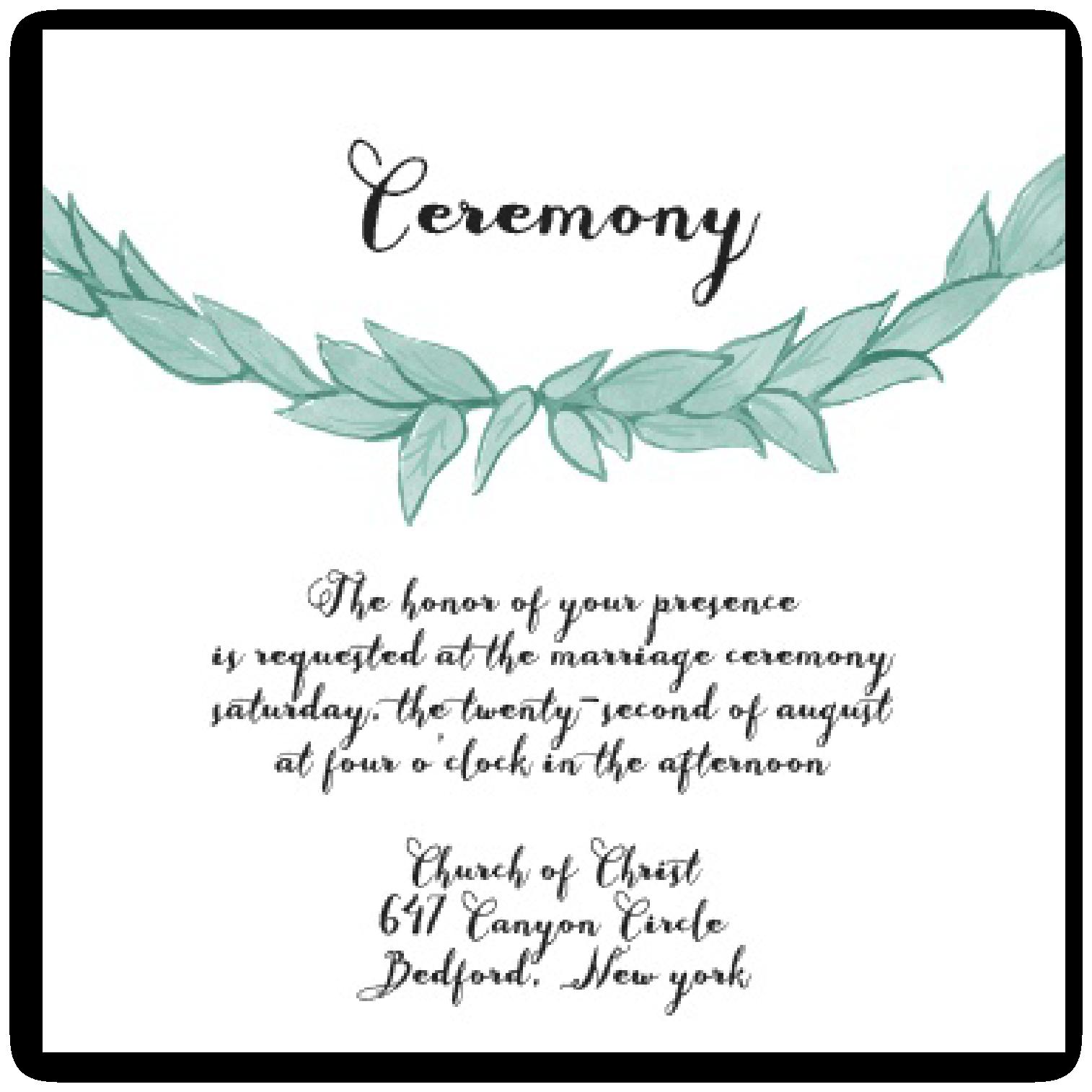 Ceremony Card Wording