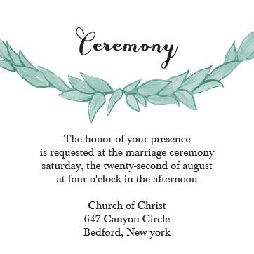 Basic Invite Ceremony Cards