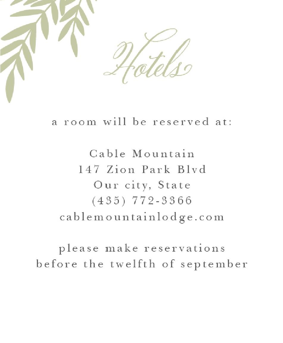 Basic Invite Accommodation Cards