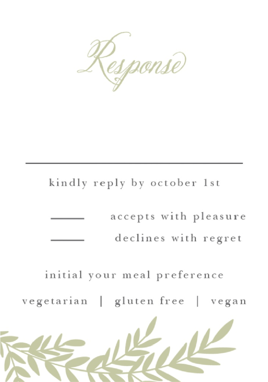 Basic Invite Response Cards