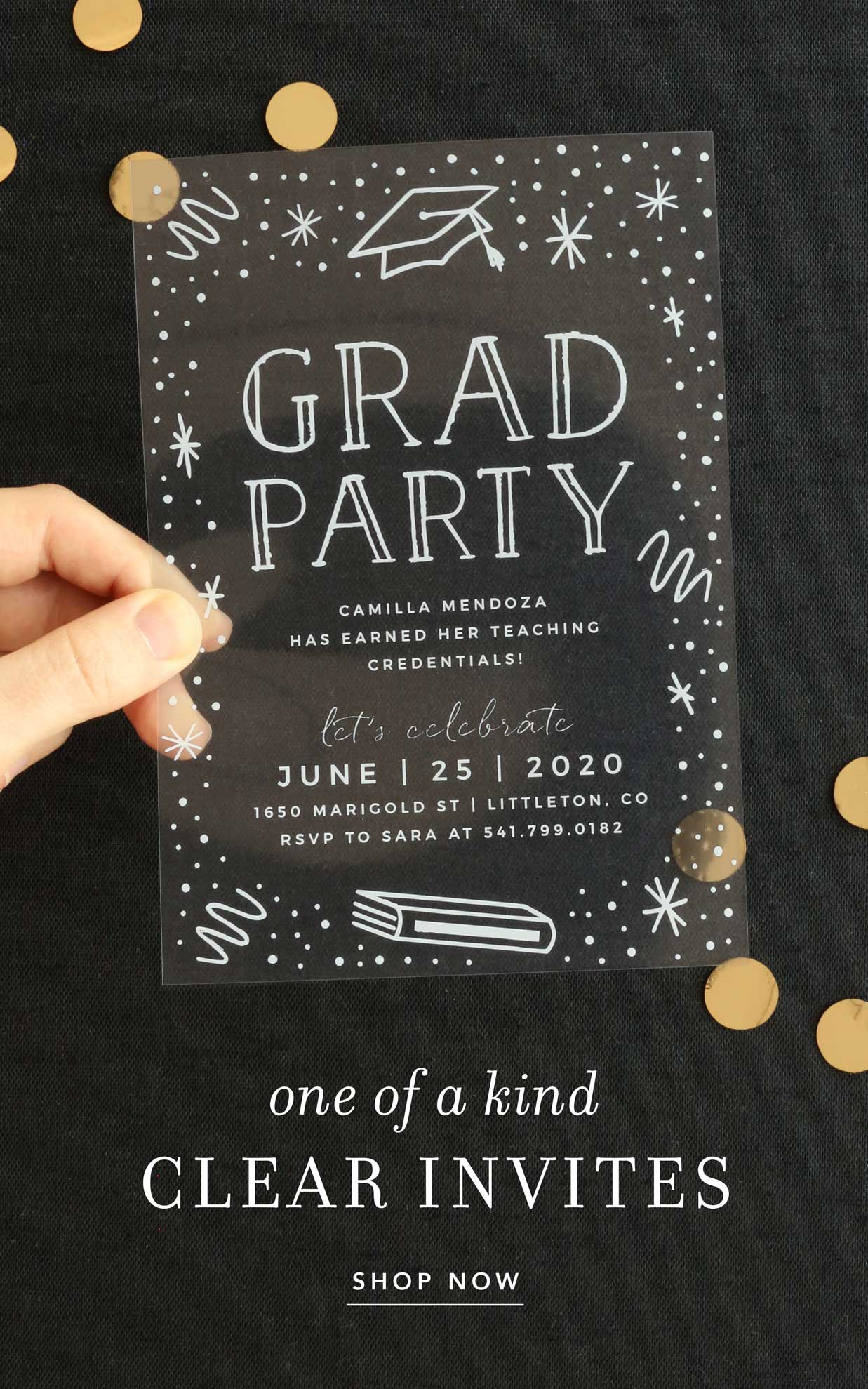 One of a kind clear invites!