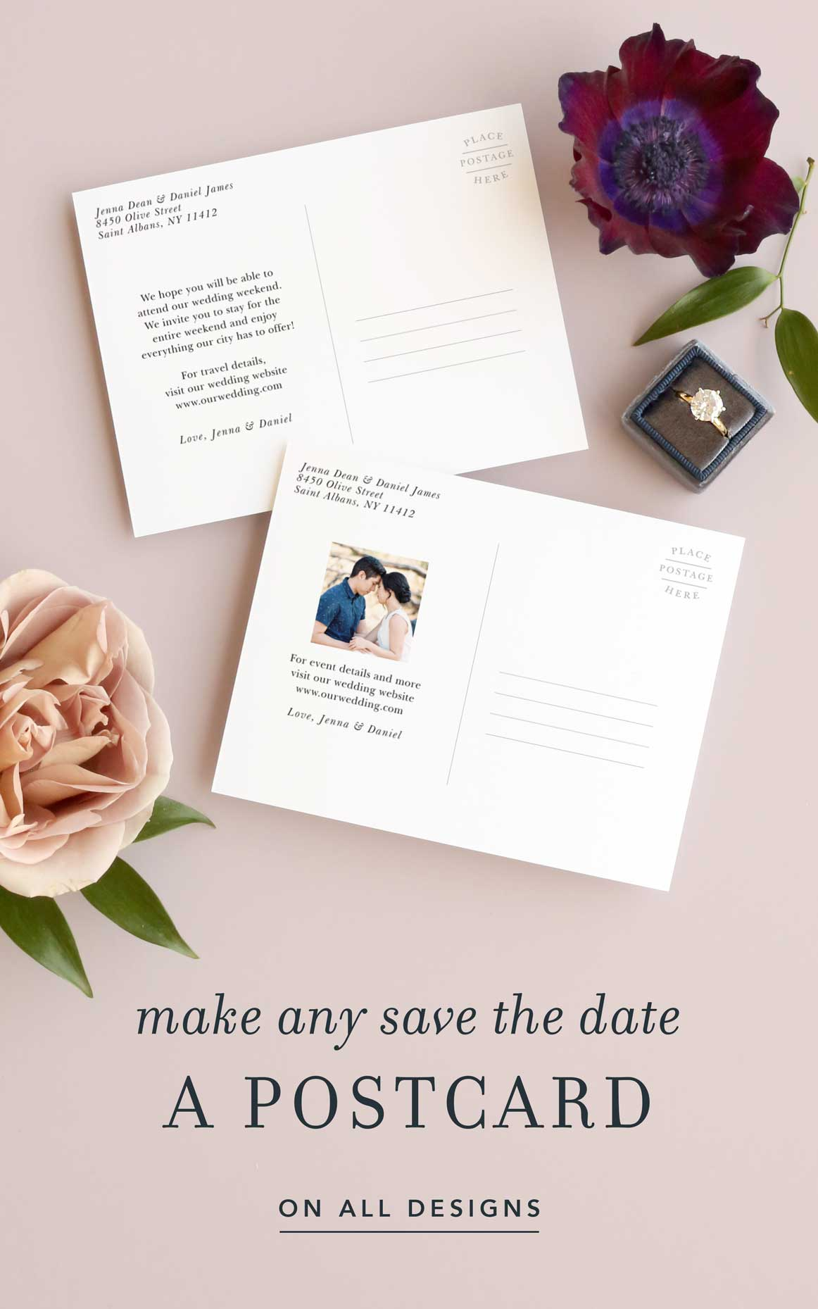 Make any save the date a postcard!