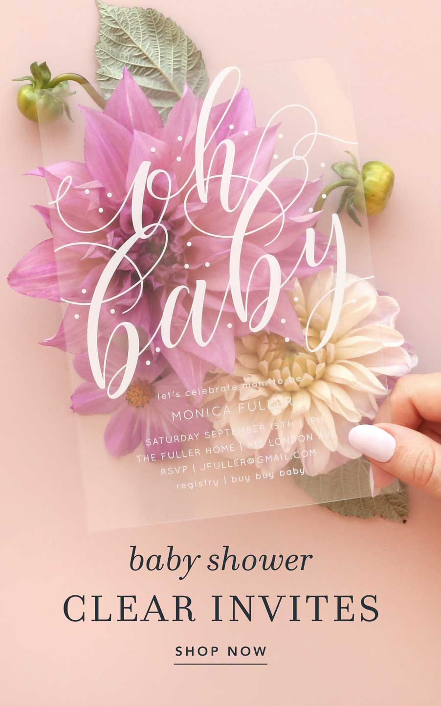 Shop our clear baby shower invitaitons!