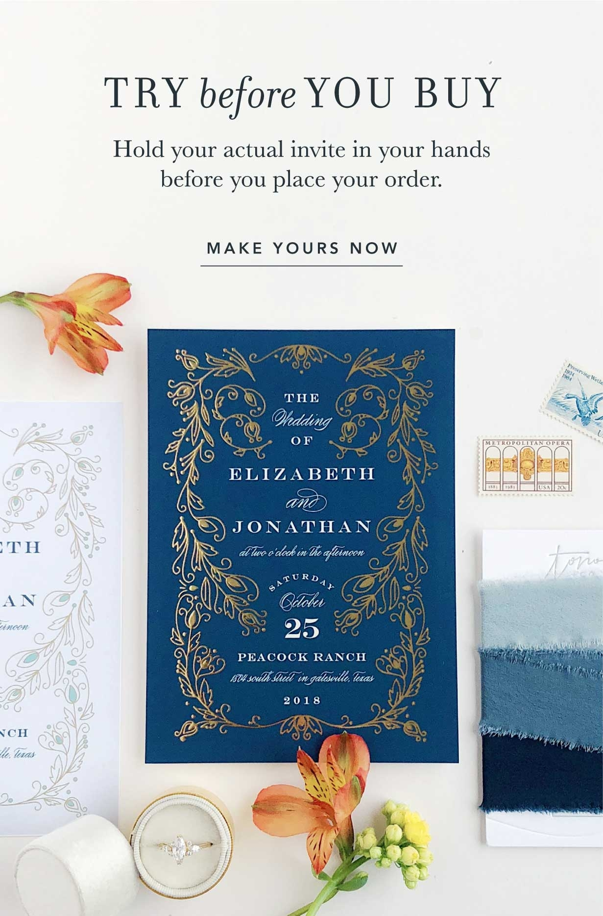 Try before you buy. Hold your actual invite in your hands before you place your order.