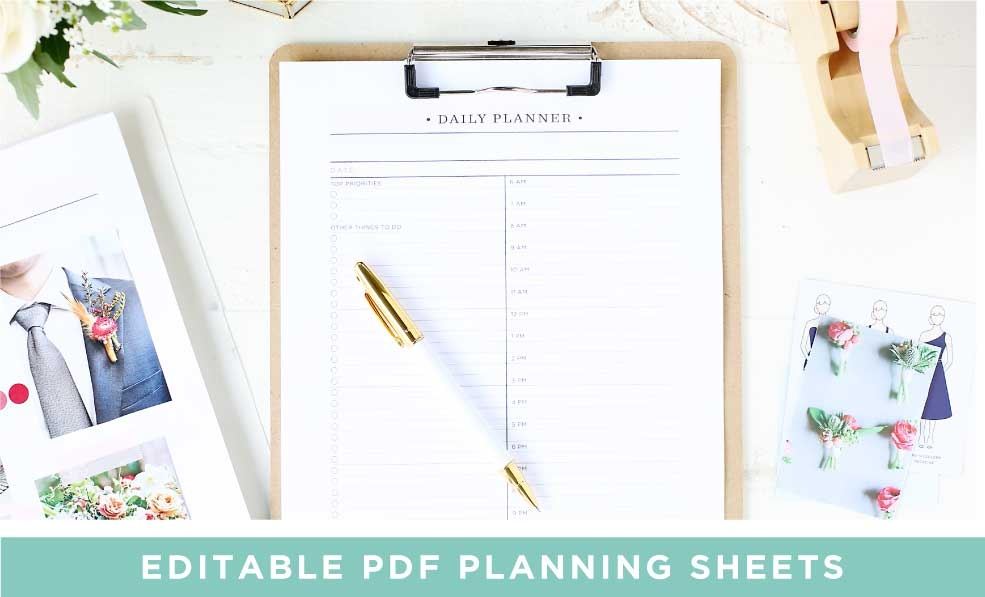 Free Printable Wedding Planner Sheets